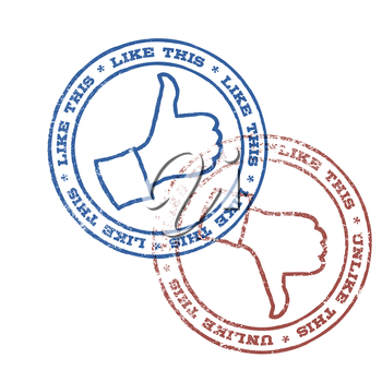 Like and unlike stamps illustration. Vector, EPS10