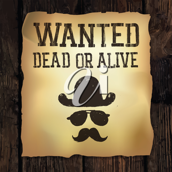 Old Wanted... poster, vector illustration