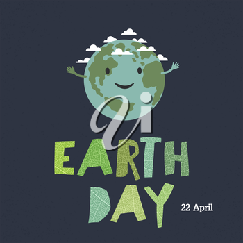 Earth day, 22 April. Save our home. Cartoon Earth illustration. Ecology concept. Leaf cut letters.