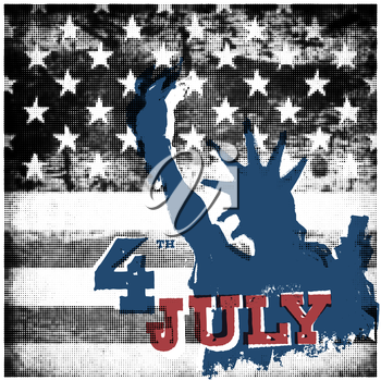4th of july American independence day poster. Halftone american flag background