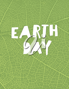 Nature background with Earth day headline. Green leaf veins texture. Paper cut letters.