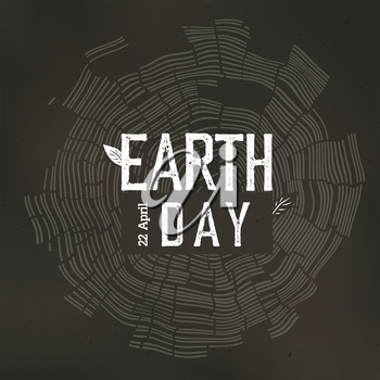 Earth Day Poster. Tree rings and Earth Day logo with date 22 April. Earth day conceptual design poster