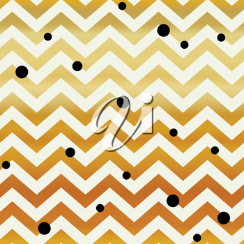 Gold Chevron seamless pattern. Zigzag lines and black dots