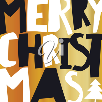 Merry Christmas Gold Greeting Card.