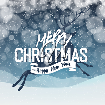 Merry Christmas Abstract Lights Background. Snowfall background. Christmas deer silhouette.