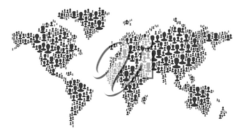The map of the world made of people silhouettes. Black on white background, isolated