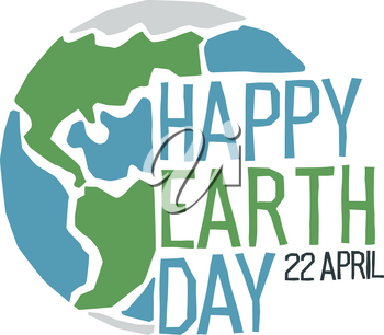 Happy Earth Day logo Design Template. Vector illustration, isolated om white