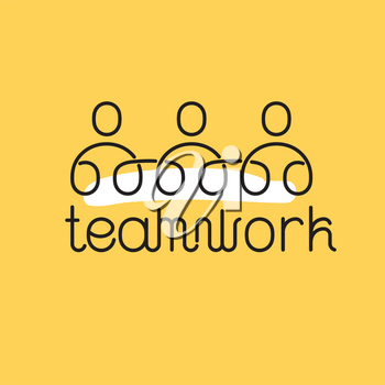 Teamwork thin icon. Business concept on yellow background with white splash.