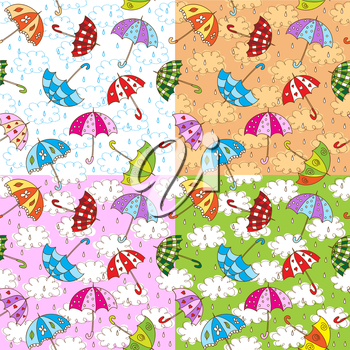 Set of seamless pattern with cute umbrellas