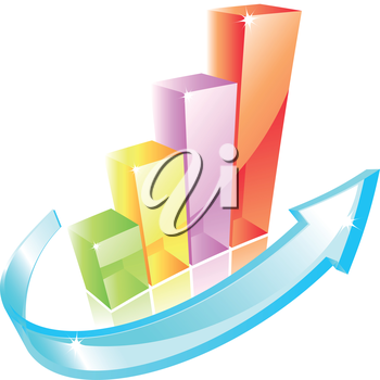 3d color glass graph icon with arrow