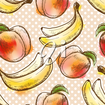 Seamless pattern with peach and banana. Painted in watercolor style