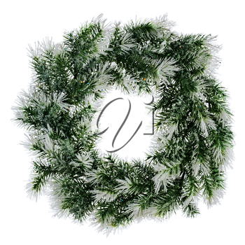 wreath of fir branches isolated on white background