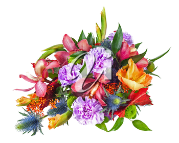 Colorful Flower Bouquet Arrangement Centerpiece Isolated on White Background. Closeup.