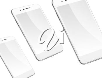 Mobile smart phones with blank screens isolated on white background. Highly detailed illustration.