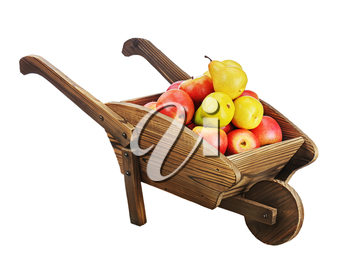 Red apples and pears on wooden pushcart isolated on white background. Closeup.