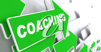 Coaching - Business Concept. Green Arrow with Coaching slogan on a grey background. 3D Render.