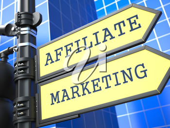 Business Concept. Affiliate Marketing Sign on Blue Background.