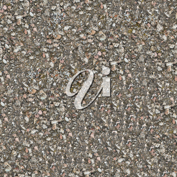 Seamless Texture of Weathered Old Concrete Surface with Protruding Stones and Spots of Moss.