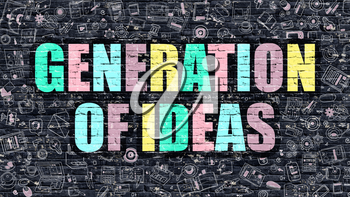 Generation of Ideas Concept. Modern Illustration. Multicolor Generation of Ideas Drawn on Dark Brick Wall. Doodle Icons. Doodle Style of  Generation of Ideas Concept. Generation of Ideas on Wall.