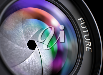 Future - Concept on Front of Lens, Closeup. Closeup Professional Photo Lens with text Future. Pink and Orange Lens Reflections.Selective Focus. 3D Render.