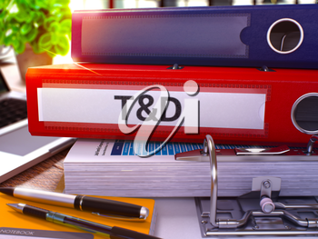 Training and Development - Red Ring Binder on Office Desktop with Office Supplies and Modern Laptop. Training and Development Business Concept on Blurred Background. 3D Render.