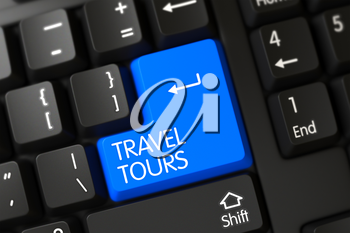 Travel Tours on Modern Laptop Keyboard Background. Travel Tours Written on a Large Blue Keypad of a PC Keyboard. Travel Tours Key on PC Keyboard. 3D Illustration.