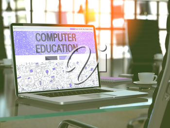 Computer Education Concept Closeup on Landing Page of Laptop Screen in Modern Office Workplace. Toned Image with Selective Focus. 3D Render.