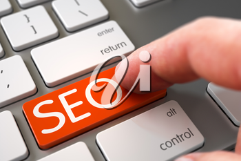 SEO Concept. Selective Focus on the SEO Key. SEO - Modernized Keyboard Keypad. Hand Pushing SEO Orange Modern Laptop Keyboard Key. Hand Finger Press SEO Key. 3D.