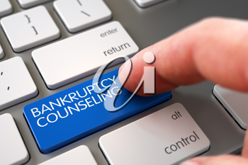 Man Finger Pressing Bankruptcy Counseling Keypad on Modern Keyboard. Close Up view of Male Hand Touching Bankruptcy Counseling Computer Keypad. Hand Finger Press Bankruptcy Counseling Key. 3D Render.