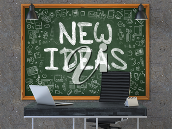 New Ideas - Hand Drawn on Green Chalkboard in Modern Office Workplace. Illustration with Doodle Design Elements. 3D.