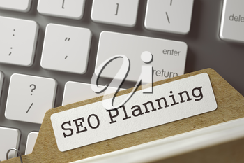 SEO Planning written on  Folder Index on Background of White Modern Keypad. Archive Concept. Closeup View. Toned Blurred  Illustration. 3D Rendering.
