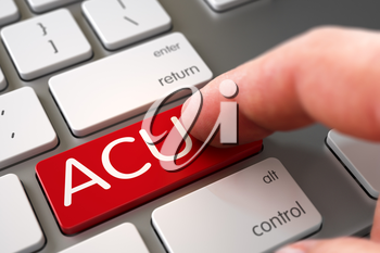 Hand Pushing ACU Red Aluminum Keyboard Button. Business Concept - Male Finger Pointing ACU Keypad on Modernized Keyboard. ACU Concept - Laptop Keyboard with ACU Keypad. 3D Render.