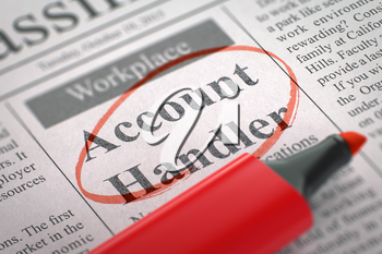 Account Handler - Small Advertising in Newspaper, Circled with a Red Highlighter. Blurred Image. Selective focus. Job Seeking Concept. 3D Rendering.