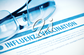 Influenza Vaccination - Medicine Concept on Blue Background with Blurred Text and Composition of Pair of Spectacles. 3D Rendering.