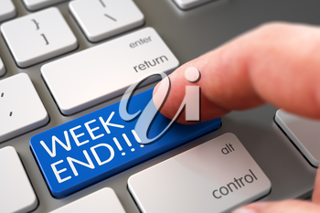 Finger Pressing on White Keyboard Blue Key with Week End Sign. 3D Render.