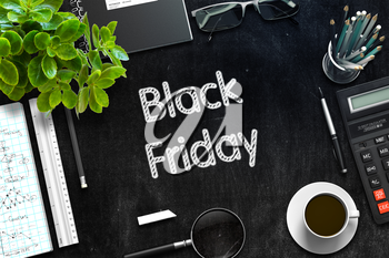 Top View of Office Desk with Stationery and Black Chalkboard with Business Concept - Black Friday. 3d Rendering. Toned Image.