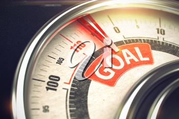 Goal - Conceptual Dial with Red Message on It. Horizontal image. Goal - Conceptual System with Red Needle Pointing the Label with Message. Business or Marketing Concept. Horizontal image. 3D Render.