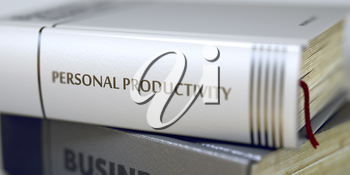 Book in the Pile with the Title on the Spine Personal Productivity. Book Title of Personal Productivity. Blurred Image. Selective focus. 3D Illustration.