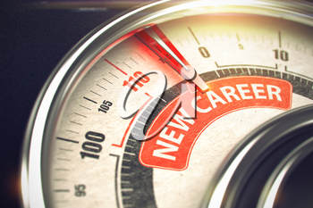Rev Counter with Red Needle Pointing the Message New Career on the Red Label. 3D Illustration.