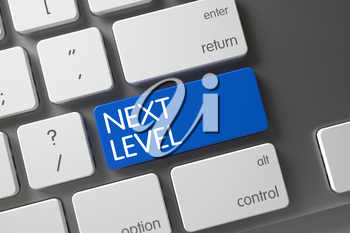 Next Level Concept White Keyboard with Next Level on Blue Enter Key Background, Selected Focus. 3D Render.
