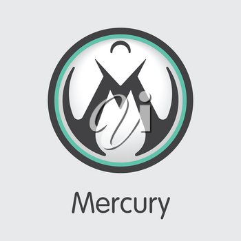 Mercury - Virtual Currency Concept. Colored Vector Icon Logo and Name of Blockchain Cryptocurrency on Grey Background. Vector Coin Image for Exchange MER.