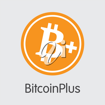 Bitcoinplus. Crypto Currency. XBC Illustration Isolated on Grey Background. Stock Vector Logo.
