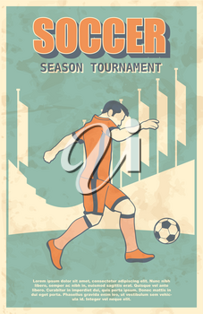 Soccer or Football Player Shooting a Ball Action. Vintage Vector Illustration. Old, Retro Poster or Placard.
