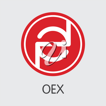 Exchange - Oex. The Crypto Coins or Cryptocurrency Logo. Market Emblem, Coins ICOs and Tokens Icon.