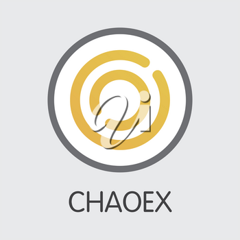 Exchange - Chaoex. The Crypto Coins or Cryptocurrency Logo. Market Emblem, Coins ICOs and Tokens Icon.