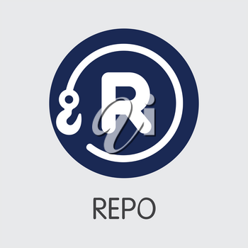 REPO - Repo. The Trade Logo or Emblem of Virtual Momey, Market Emblem, ICOs Coins and Tokens Icon.