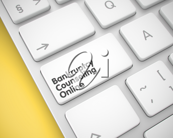 Business Concept. White Button on Laptop Keyboard. Online Service Concept with Laptop Enter White Key on the Keyboard: Bankruptcy Counseling Online. 3D Illustration.