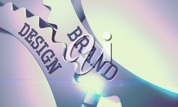 Brand Design Shiny Metal Cog Gears - Communication Concept. with Glow Effect and Lens Flare. Message Brand Design on Shiny Metal Gears - Enterprises Concept. 3D Illustration .