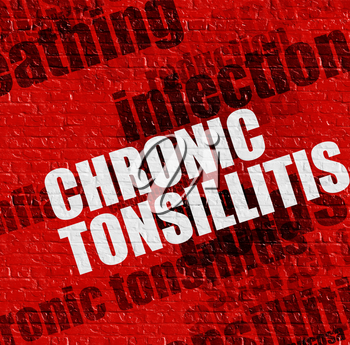 Medicine concept: Chronic Tonsillitis on Red Brick Wall . Red Brickwall with Chronic Tonsillitis on the it .