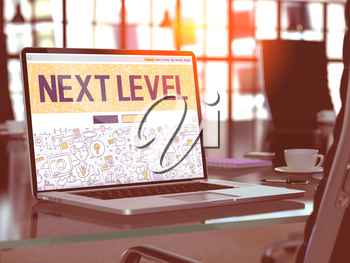 Next Level Concept. Closeup Landing Page on Laptop Screen in Doodle Design Style. On Background of Comfortable Working Place in Modern Office. Blurred, Toned Image. 3D Render.